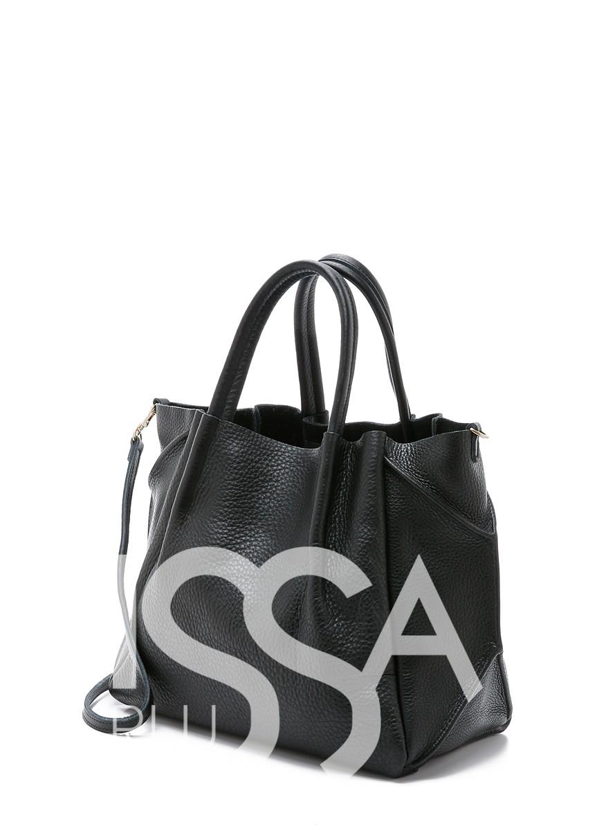 Черная сумка из натуральной кожи со съемным ремнем