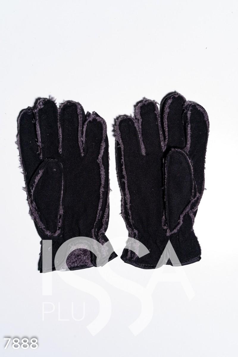 Черные теплые  перчатки на меху с резинкой на манжете