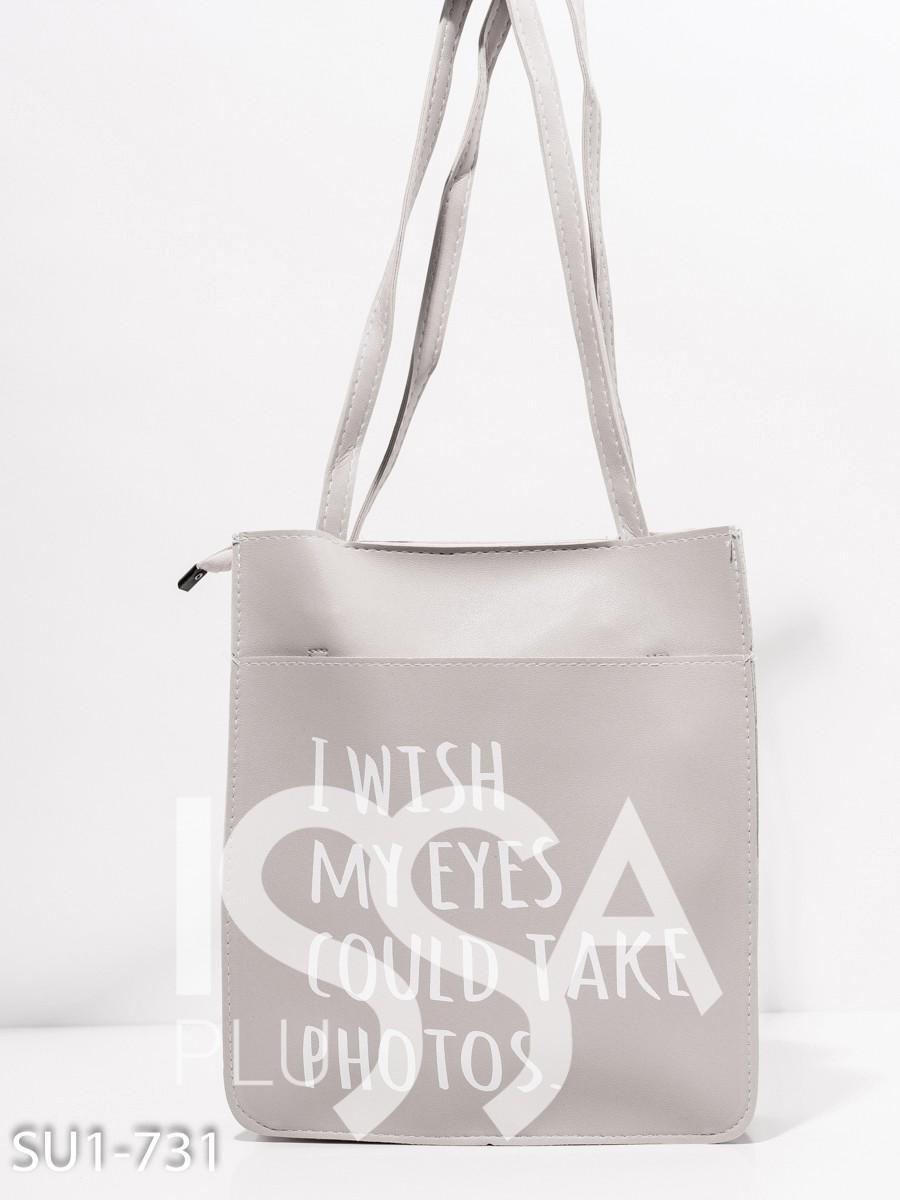 Серая сумка-шоппер  из эко-кожи с принтом