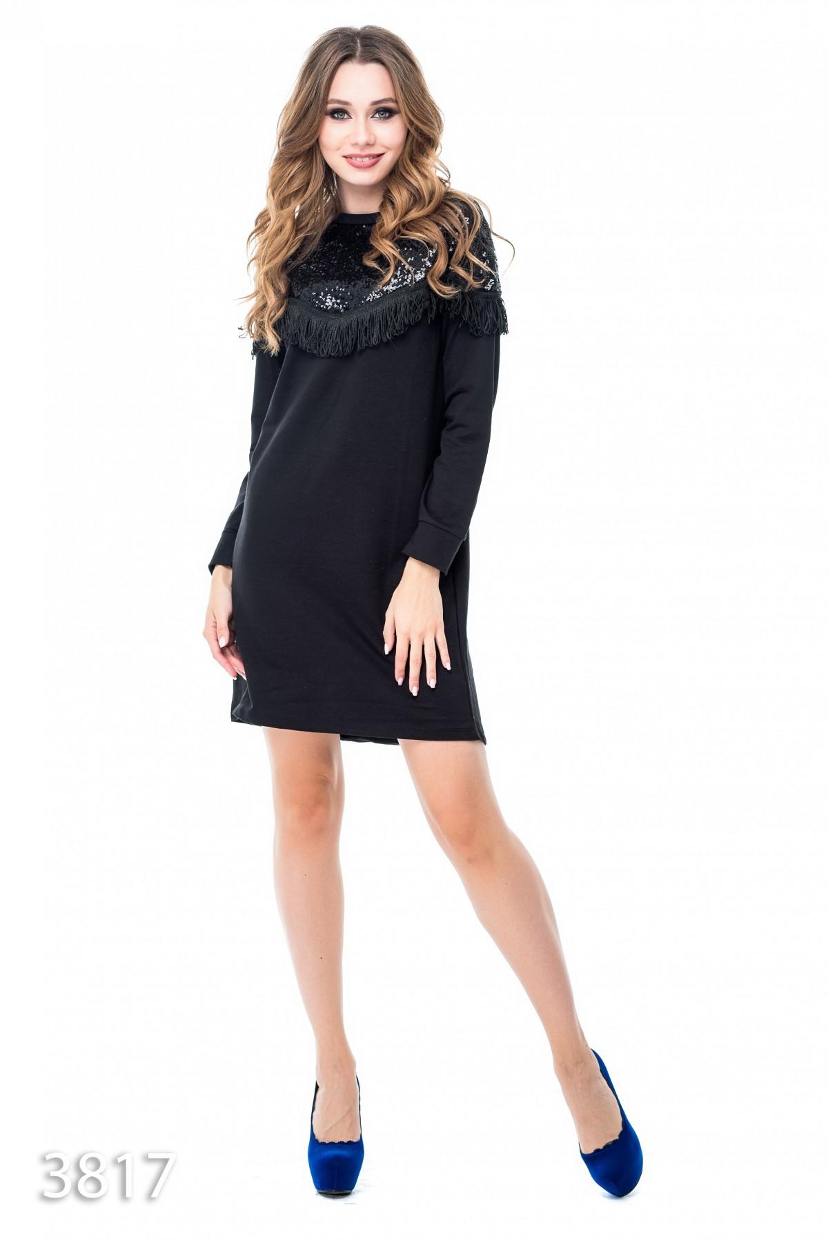 c771ee3fc78 Черное платье выше колен с верхом в пайетках и бахромой  516 грн. фото 2 ...