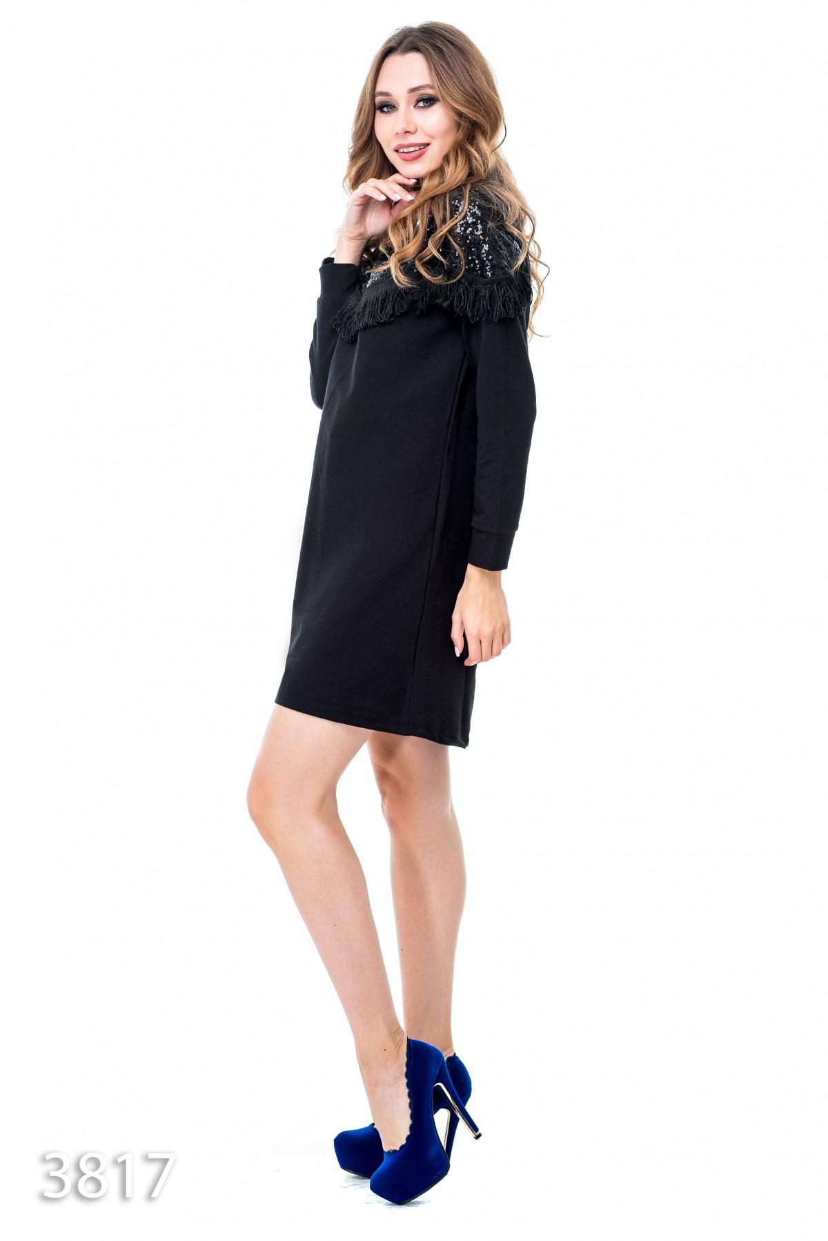 e7aad553d52 ... Черное платье выше колен с верхом в пайетках и бахромой  516 грн. фото  3 ...
