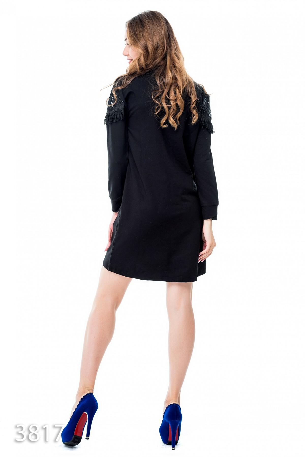 04c6997a545 ... Черное платье выше колен с верхом в пайетках и бахромой  516 грн. фото 4
