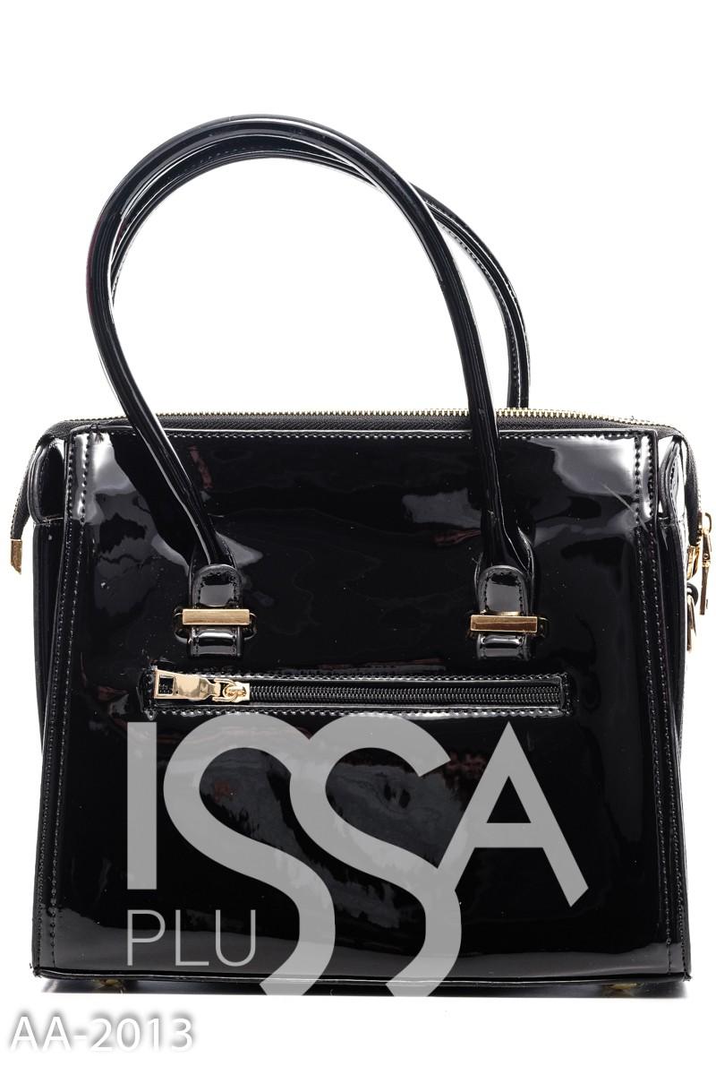 Черная квадратная сумочка на жесткой основе с круглой ручкой