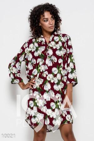 8c61e5c7763 Бордовое платье из штапеля в стиле оверсайз с цветочным принтом и кокеткой  на спине