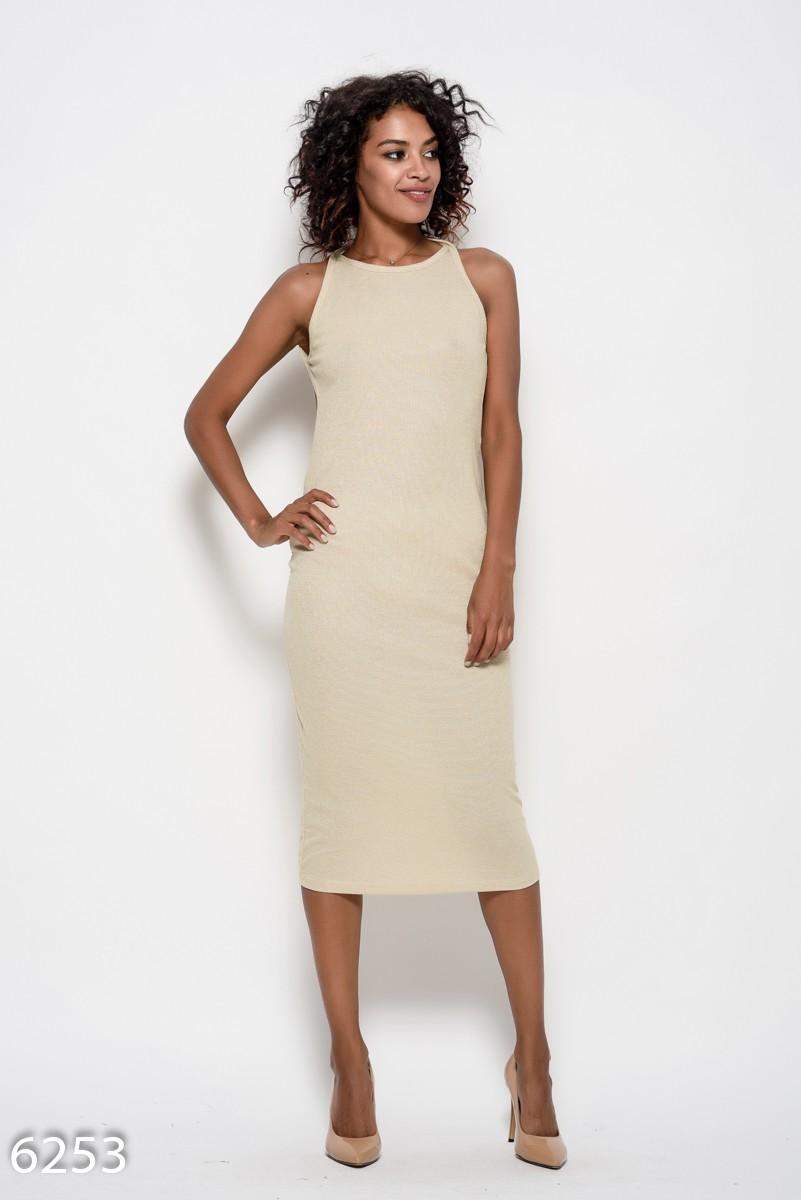 ce3786f0dbc Бежевое трикотажное платье на тонких бретельках с открытой спиной  339 грн.  фото 2 ...