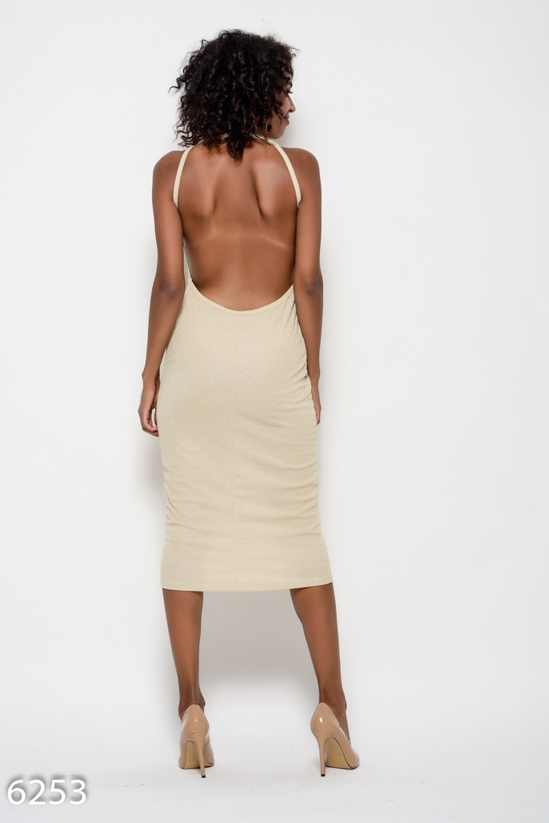 4ea43885b21 ... Бежевое трикотажное платье на тонких бретельках с открытой спиной  339  грн. фото 4