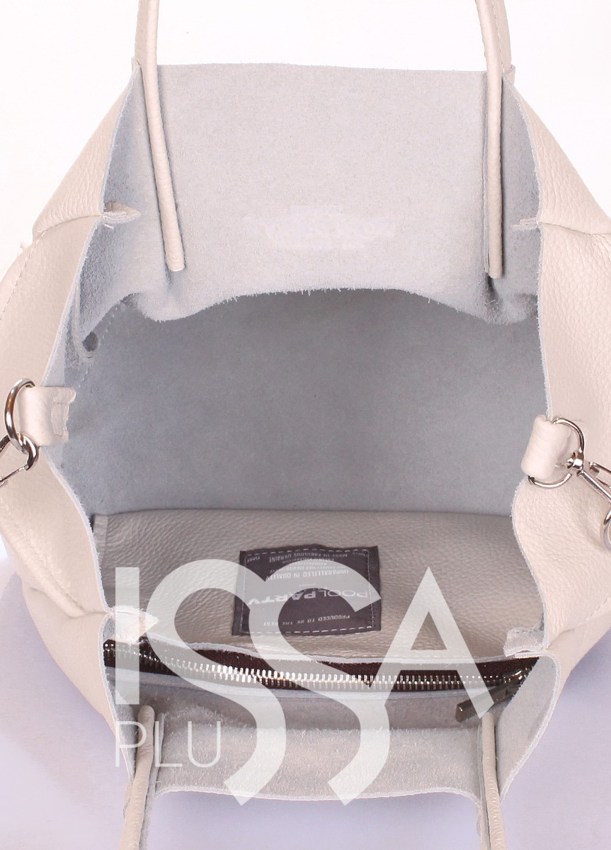 Бежевая сумка из натуральной кожи на одно отделение со съемным ремнем