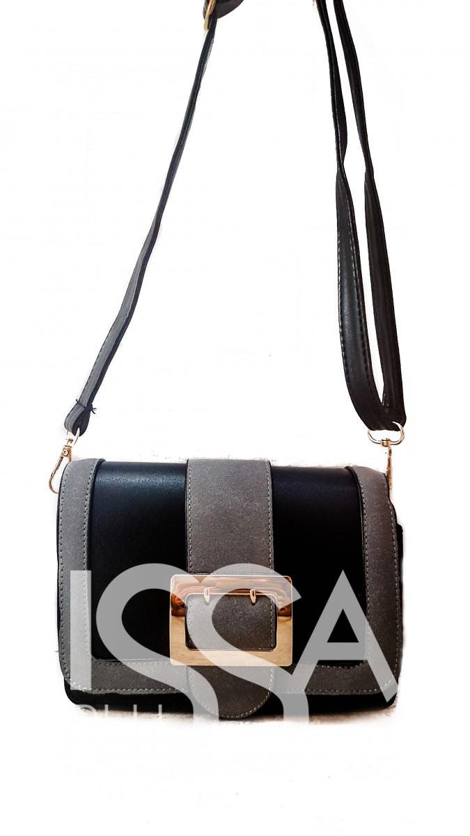 Комбинированная сумочка из черной кожи и серой замши с золотой фурнитурой