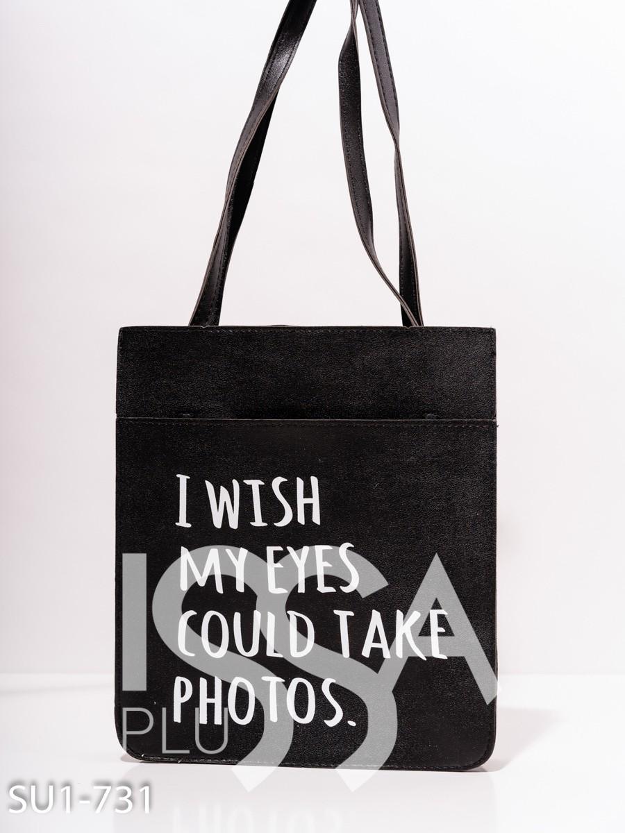 Черная сумка-шоппер  из эко-кожи с принтом