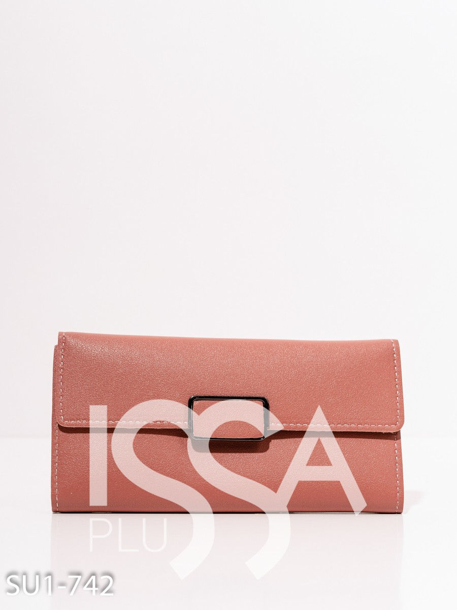 Розовый вместительный прямоугольный кошелек