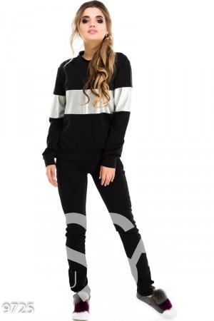 Черный спортивный костюм со вставками и лампасами из серебристой эко-кожи 6c757e80874