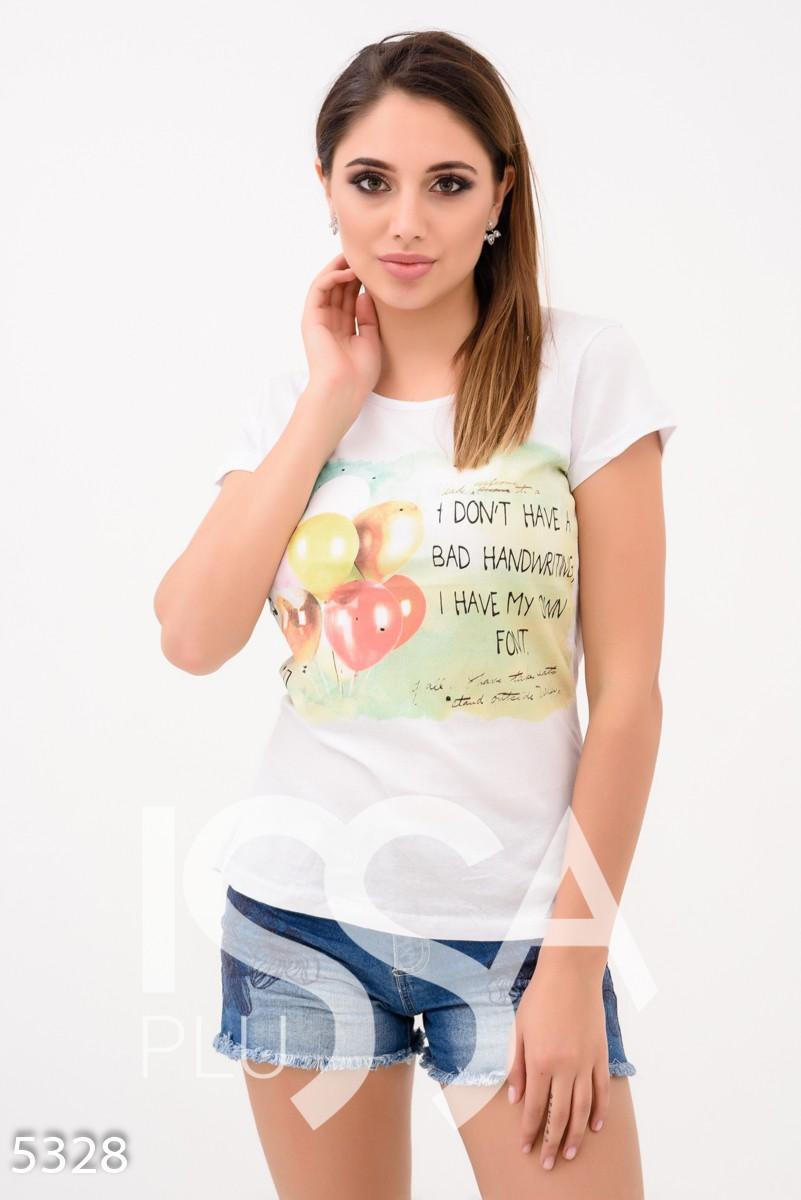 Белая футболка с шарами и смешной надписью