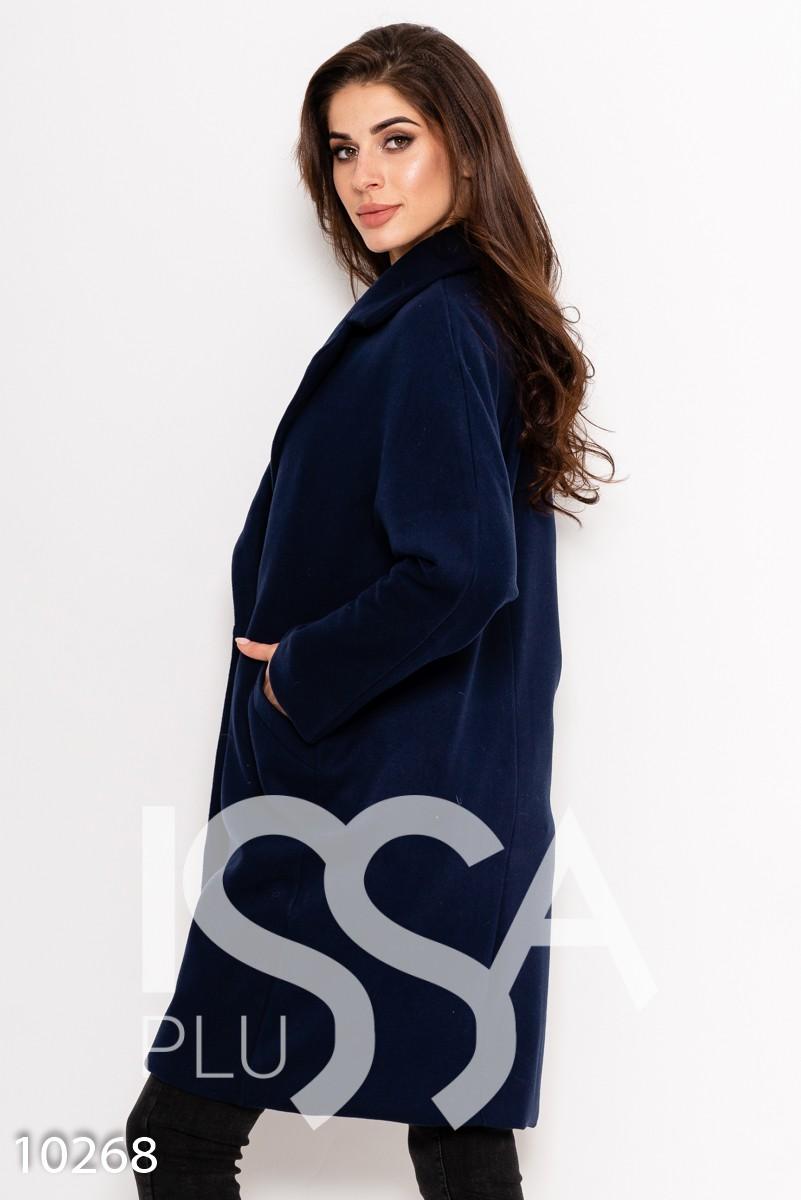 Темно-синее однотонное двубортное  демисезонное пальто из кашемира с карманами