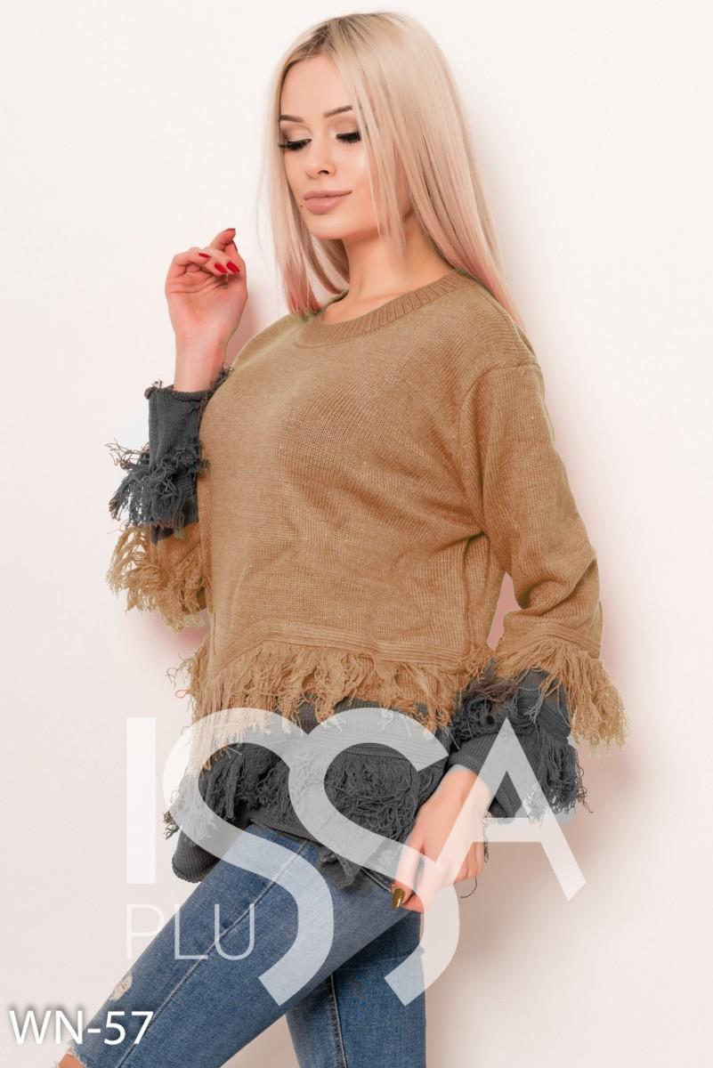 Горчичный  шерстяной свитер с бахромой