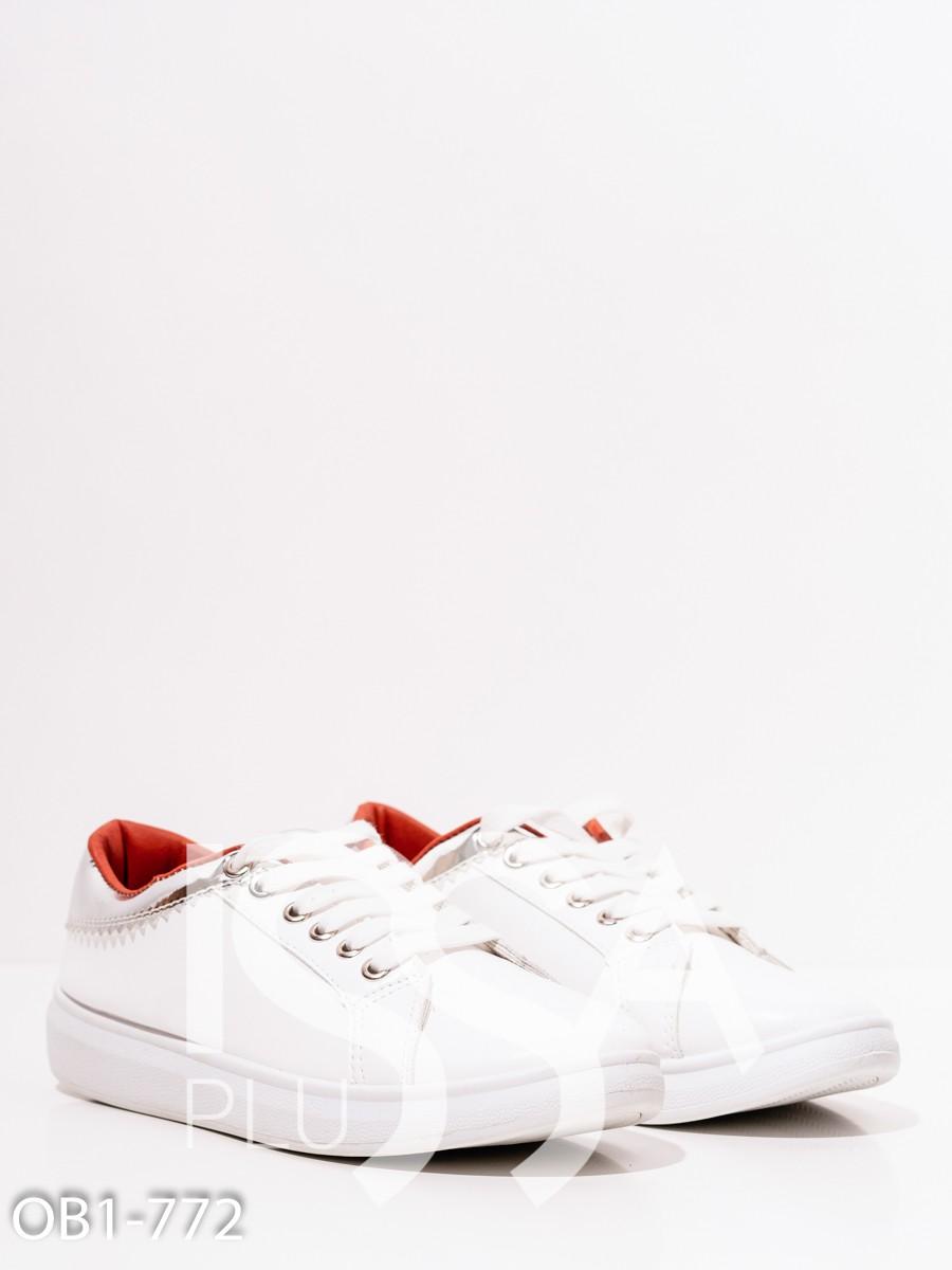 Белые кеды из эко-кожи с серебристыми вставками