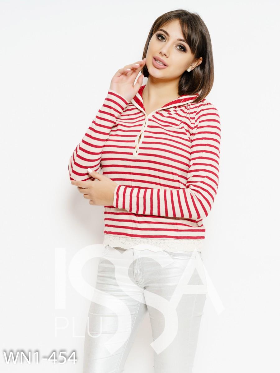 Бежево-красный полосатый свитер с кружевом