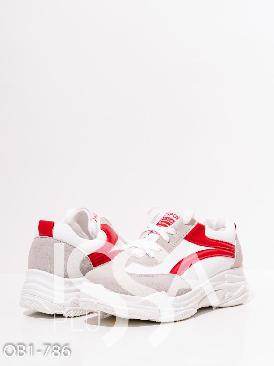 Белые кроссовки на платформе с цветными вставками