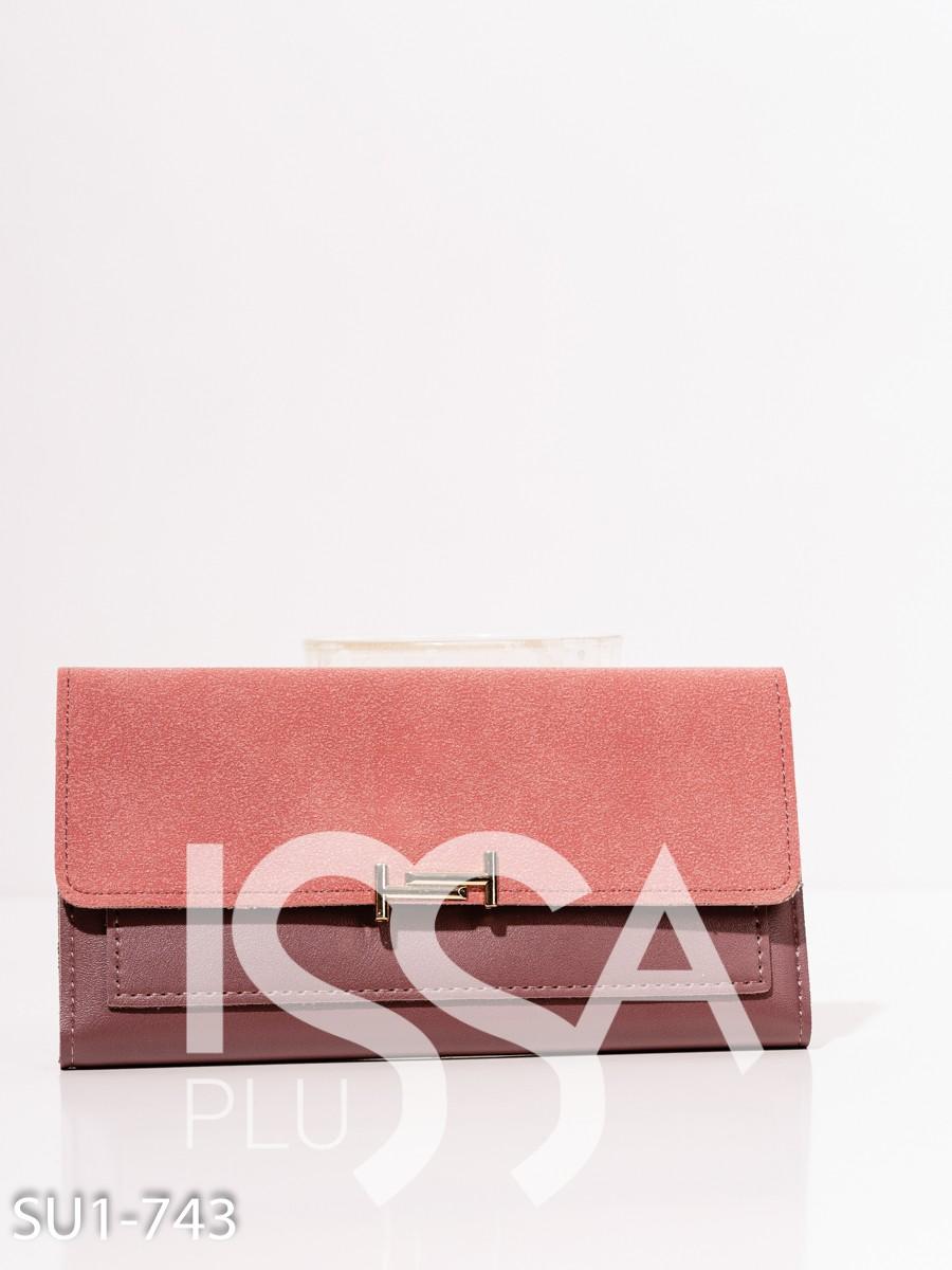 Розовый кошелек с замшевой вставкой
