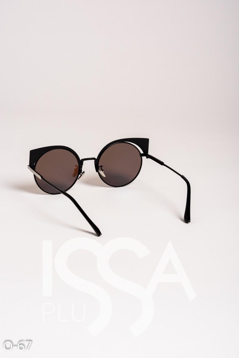 Голубые зеркальные круглые очки с уголками в металлической оправе