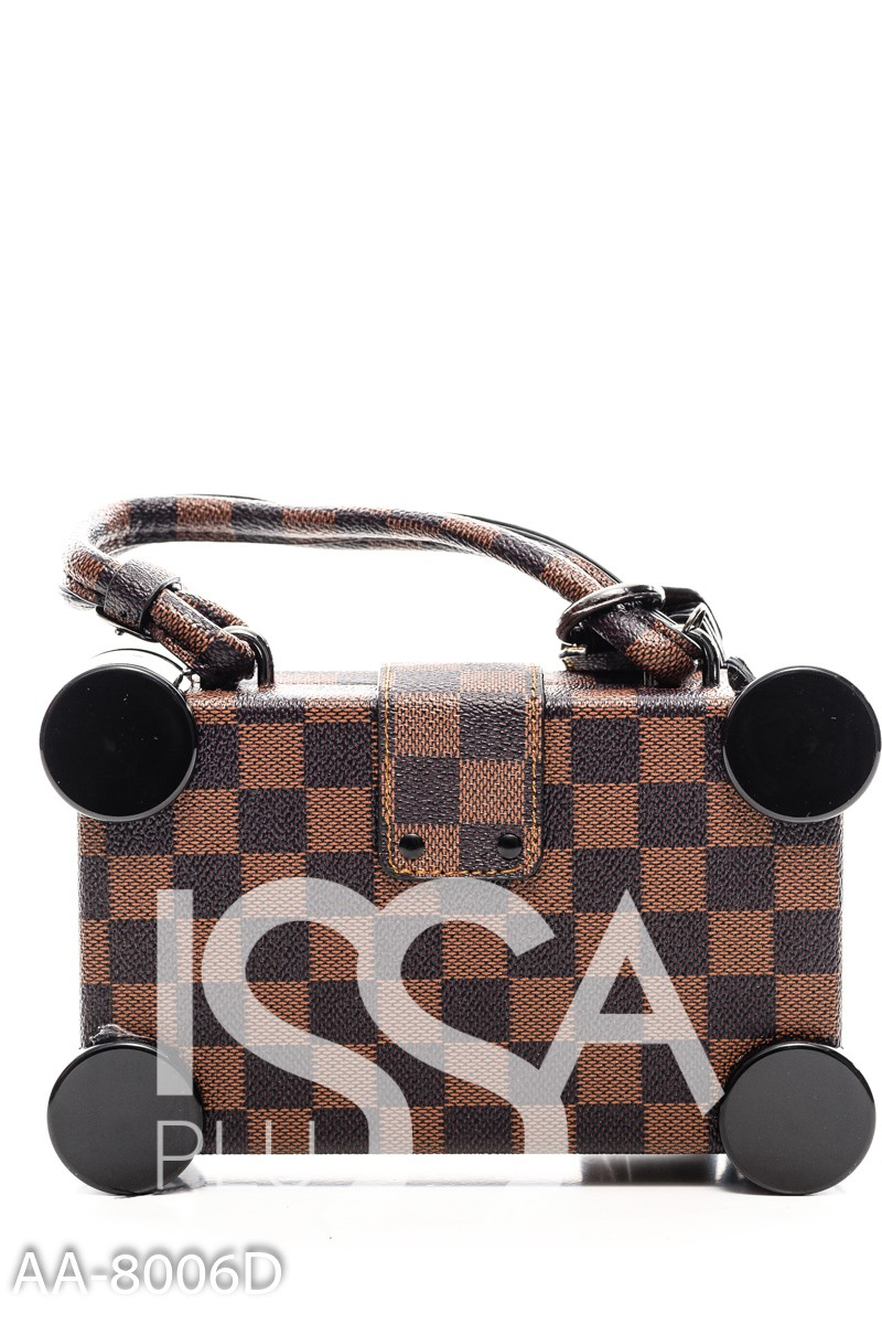 Коричневая квадратная сумочка с шахматным светлым узором