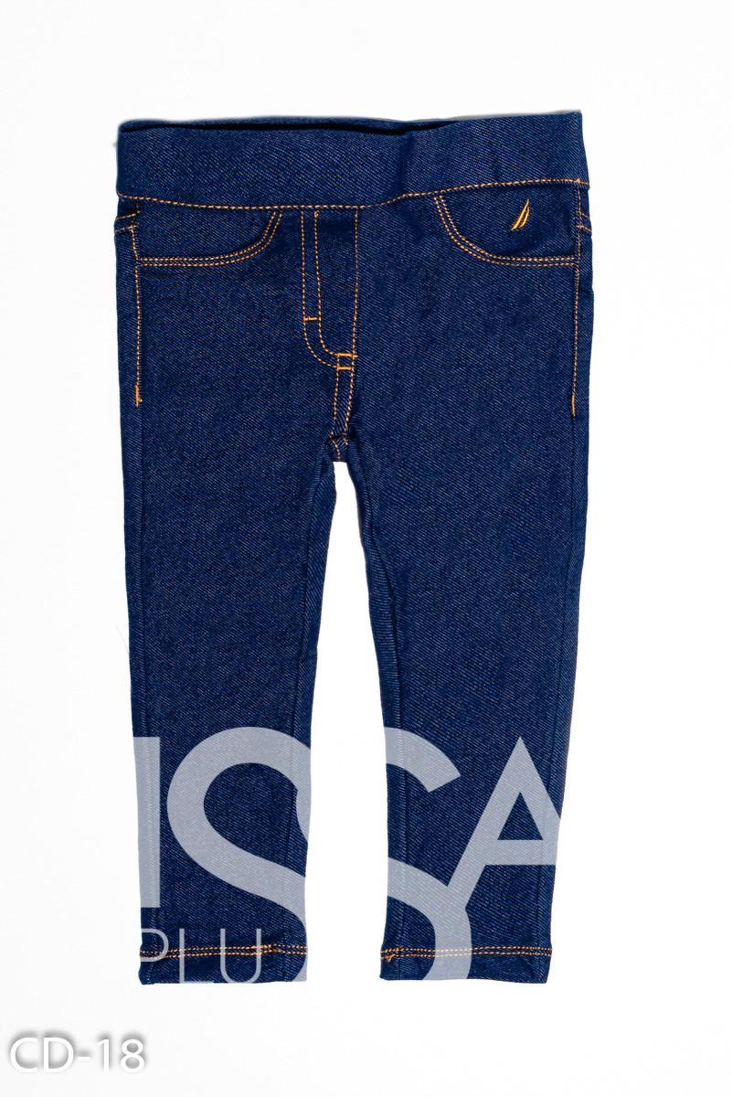 Синие эластичные джеггинсы с контрастными швами