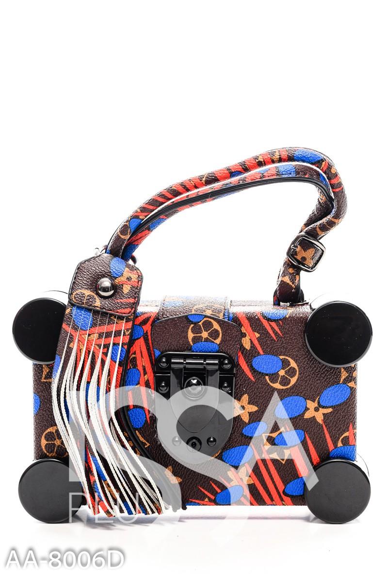 Коричневая квадратная сумочка с цветными узорами