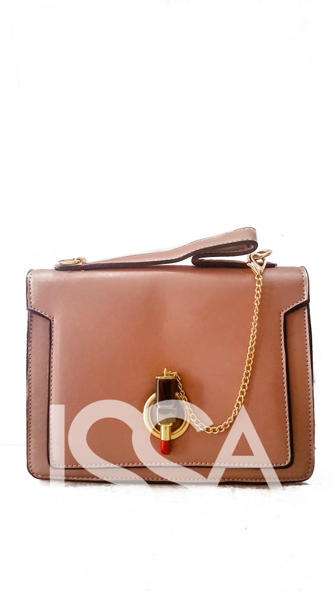 Бежевая сумочка из эко-кожи с оригинальной застежкой-