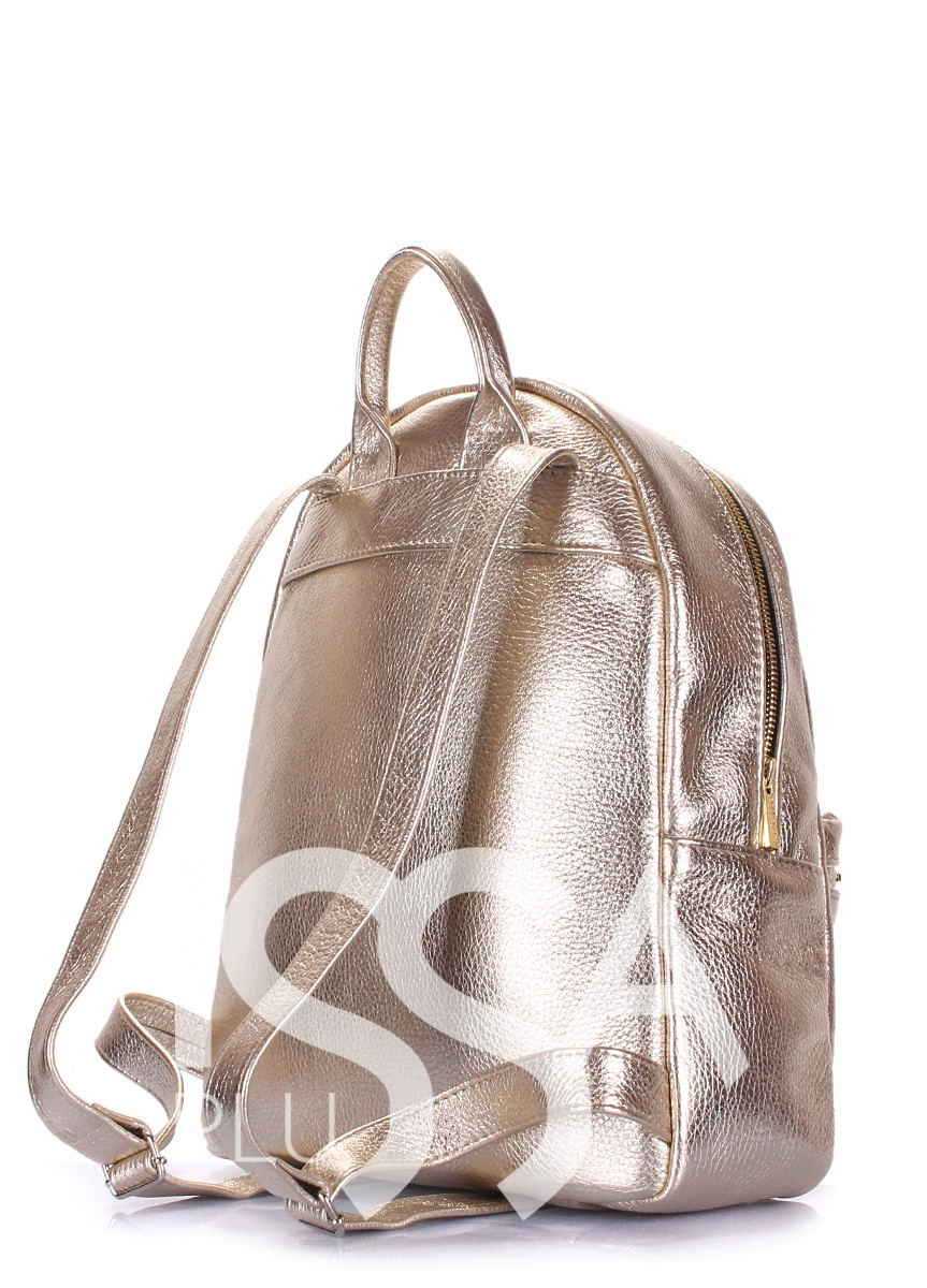 Золотистый мини-рюкзак из эко-кожи