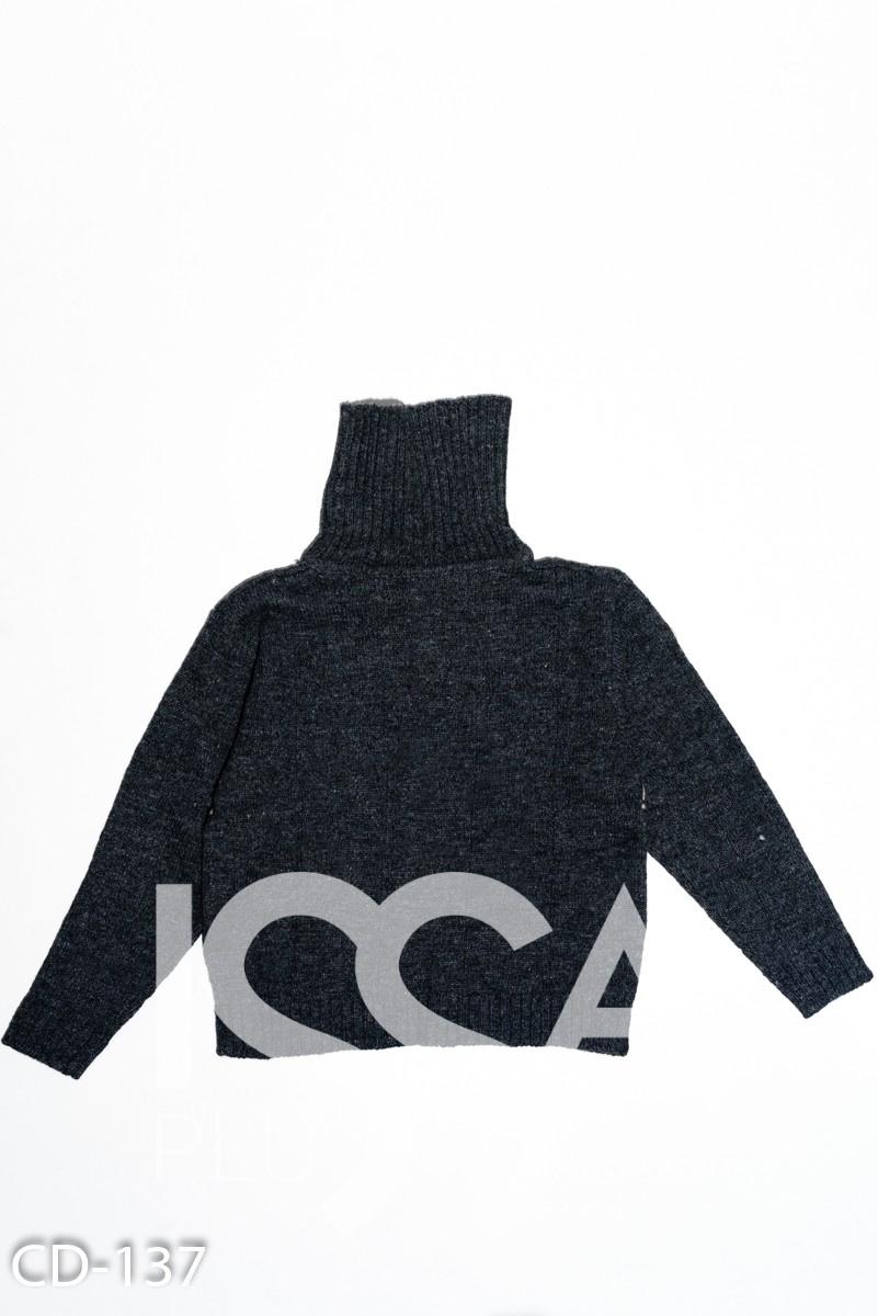 Серый шерстяной вязаный свитер с воротником-гольфом
