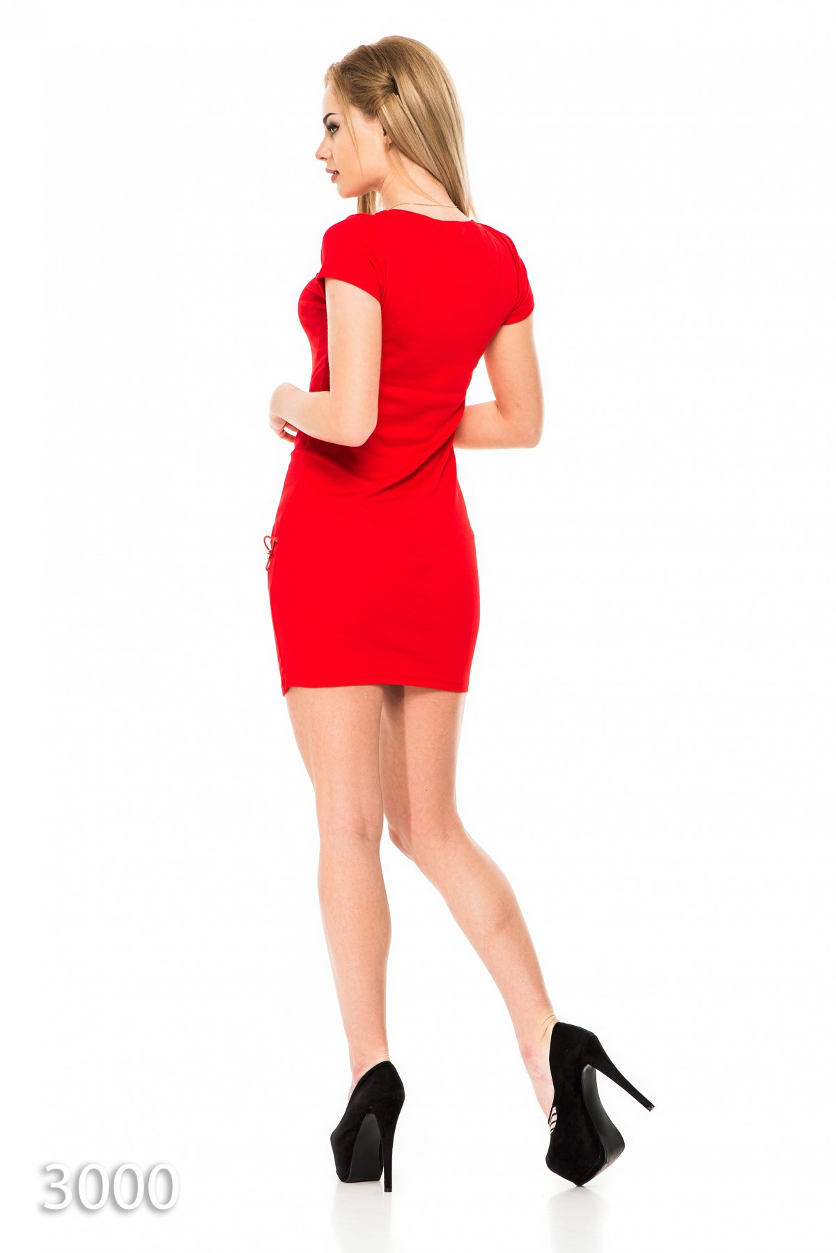 1cc73ecd117 ... Красное платье-футболка со шнуровкой в тон на бедре  348 грн. фото 4