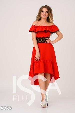 4ab6b77577c Красное асимметричное платье с открытыми плечами и кружевными вставками