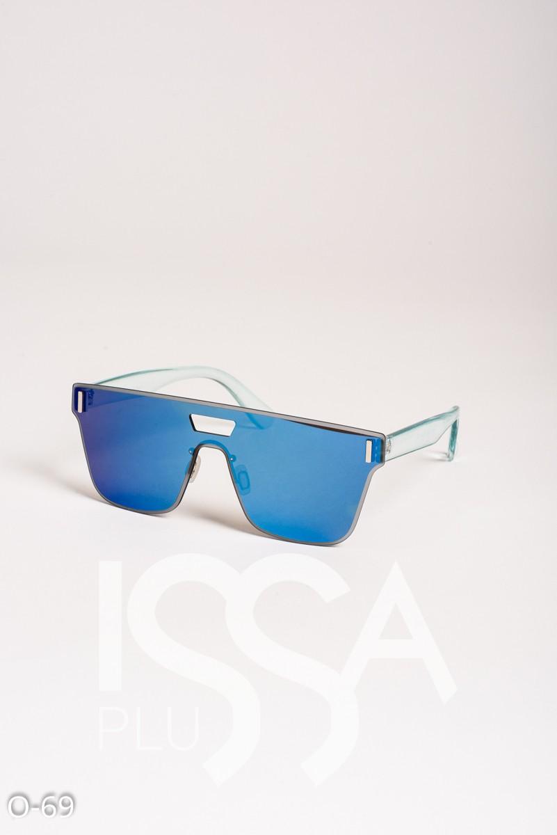 Голубые зеркальные цельные очки с прозрачной оправой