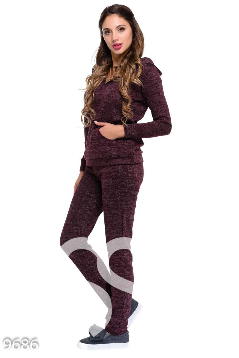 Бордовый шерстяной спортивный костюм с люрексом с кофтой-кенгуру и брюками