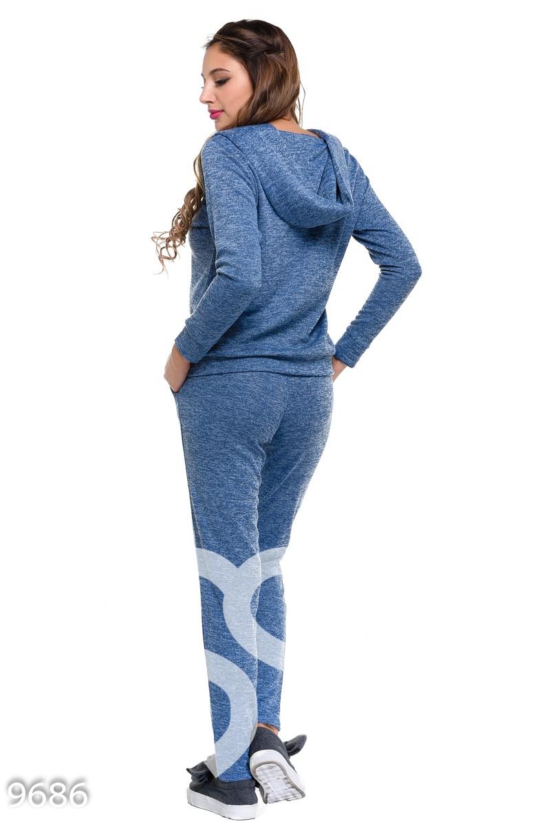 Голубой шерстяной спортивный костюм с люрексом с кофтой-кенгуру и брюками