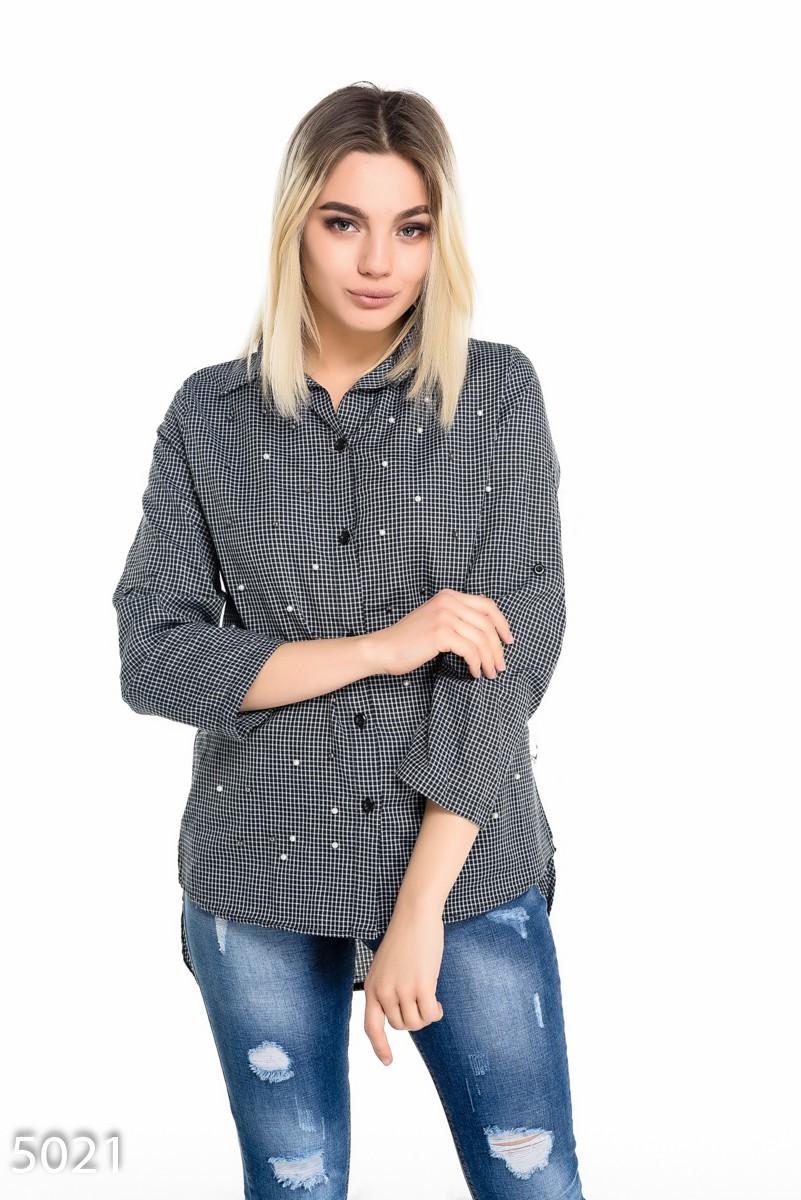 8eb97efe4e9 Темно-синяя свободная женская рубашка в мелкую клетку с бусинами  297 грн.  фото ...