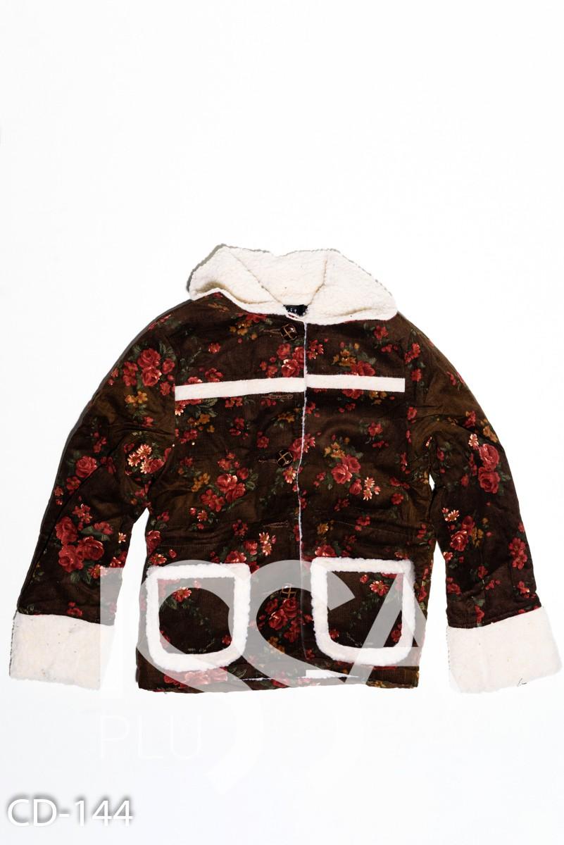 Коричневая вельветовая куртка на меху с цветочным принтом