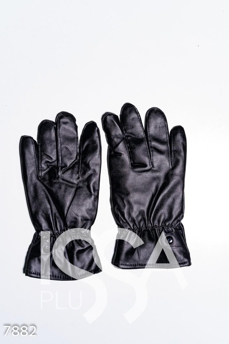Черные демисезонные перчатки из эко-кожи на меху
