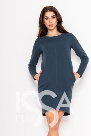 100a9fb6259 Голубое однотонное платье из трикотажа на флисе с карманами и длинными  рукавами