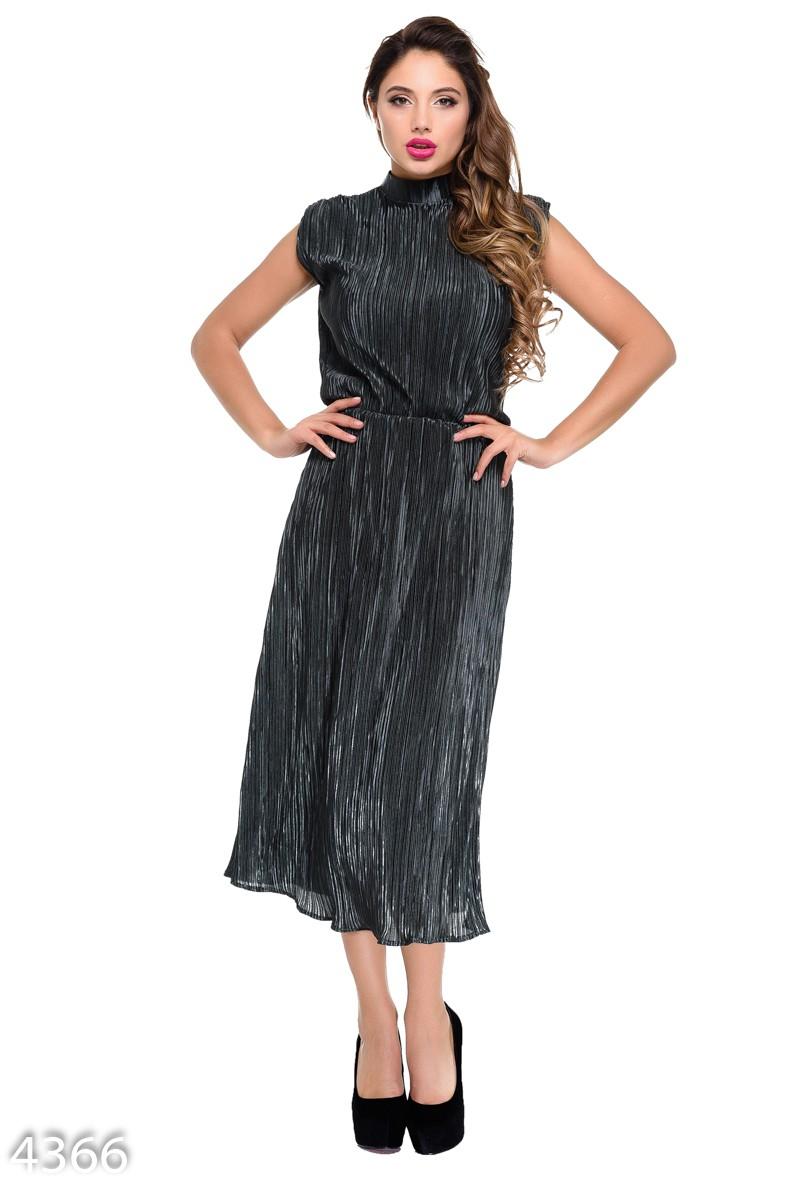 08232315607 Зеленое вечернее гофрированное платье-миди без рукавов  579 грн. фото 2 ...