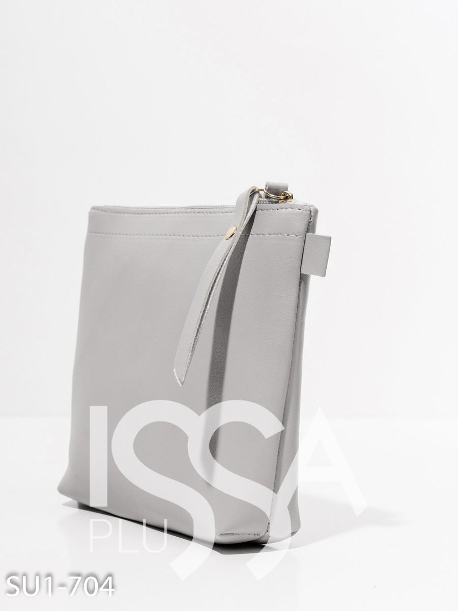 Серая маленькая сумочка из эко-кожи