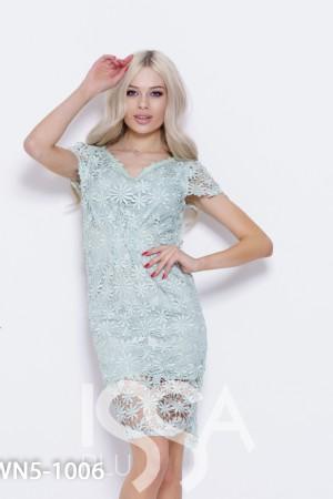 9bebfbc907c Мятное кружевное платье с короткими рукавами