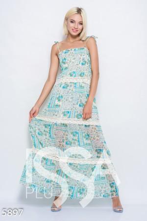 6c0384d74fd Бирюзовое легкое шифоновое платье-сарафан в пол с жаткой на груди и  винтажным кружевом