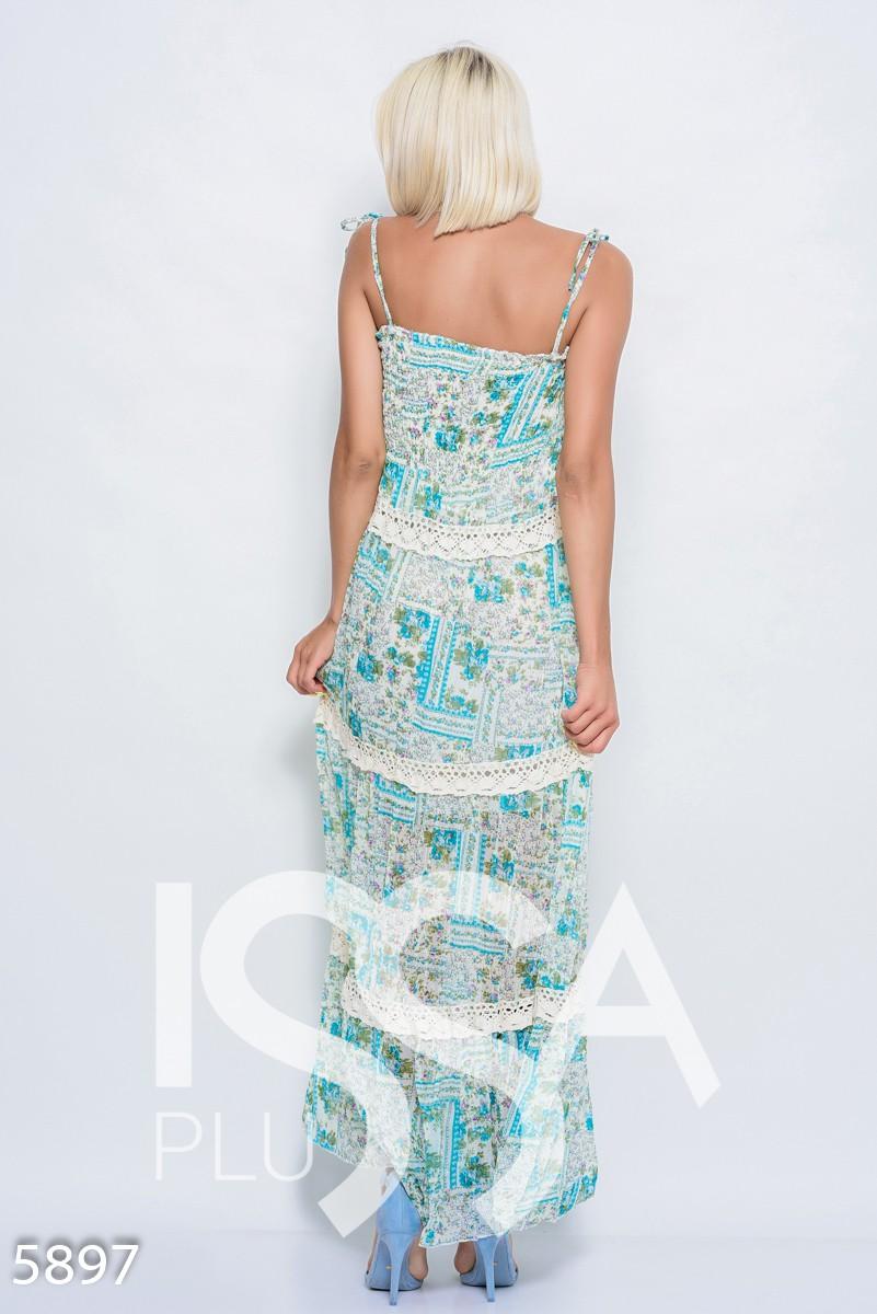 Бирюзовое легкое шифоновое платье-сарафан в пол с жаткой на груди и винтажным кружевом