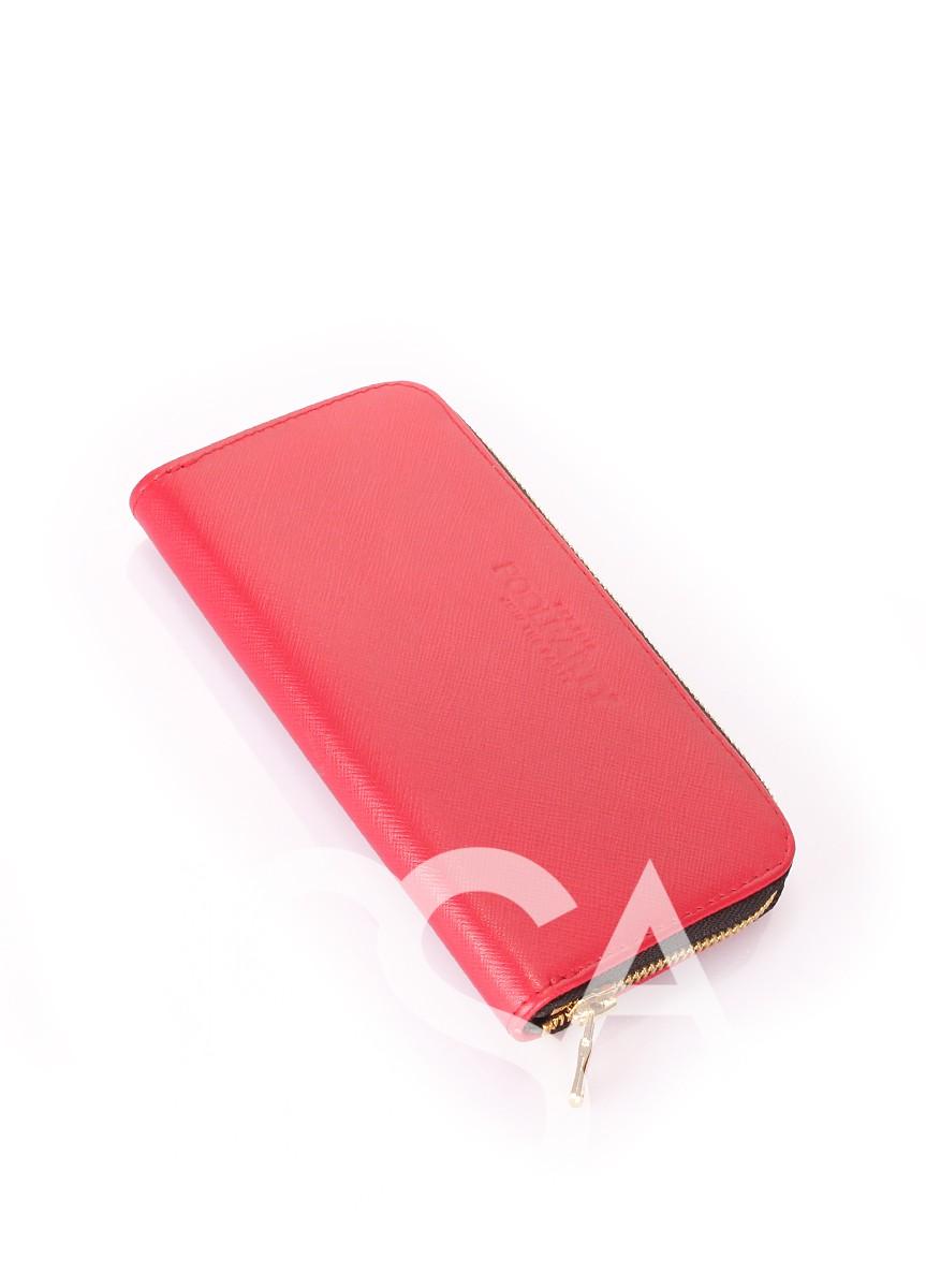 Красный кошелек на молнии из натуральной кожи