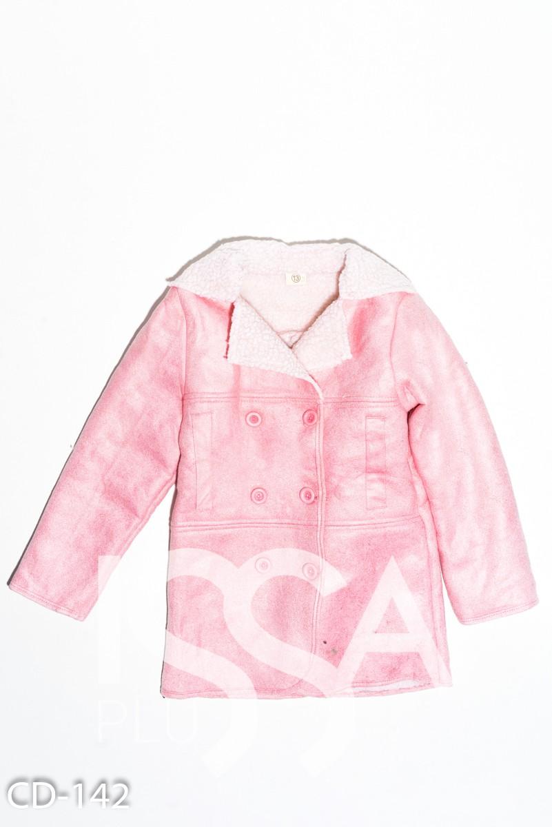 Розовая демисезонная куртка на пуговицах  из эко-замши на меху