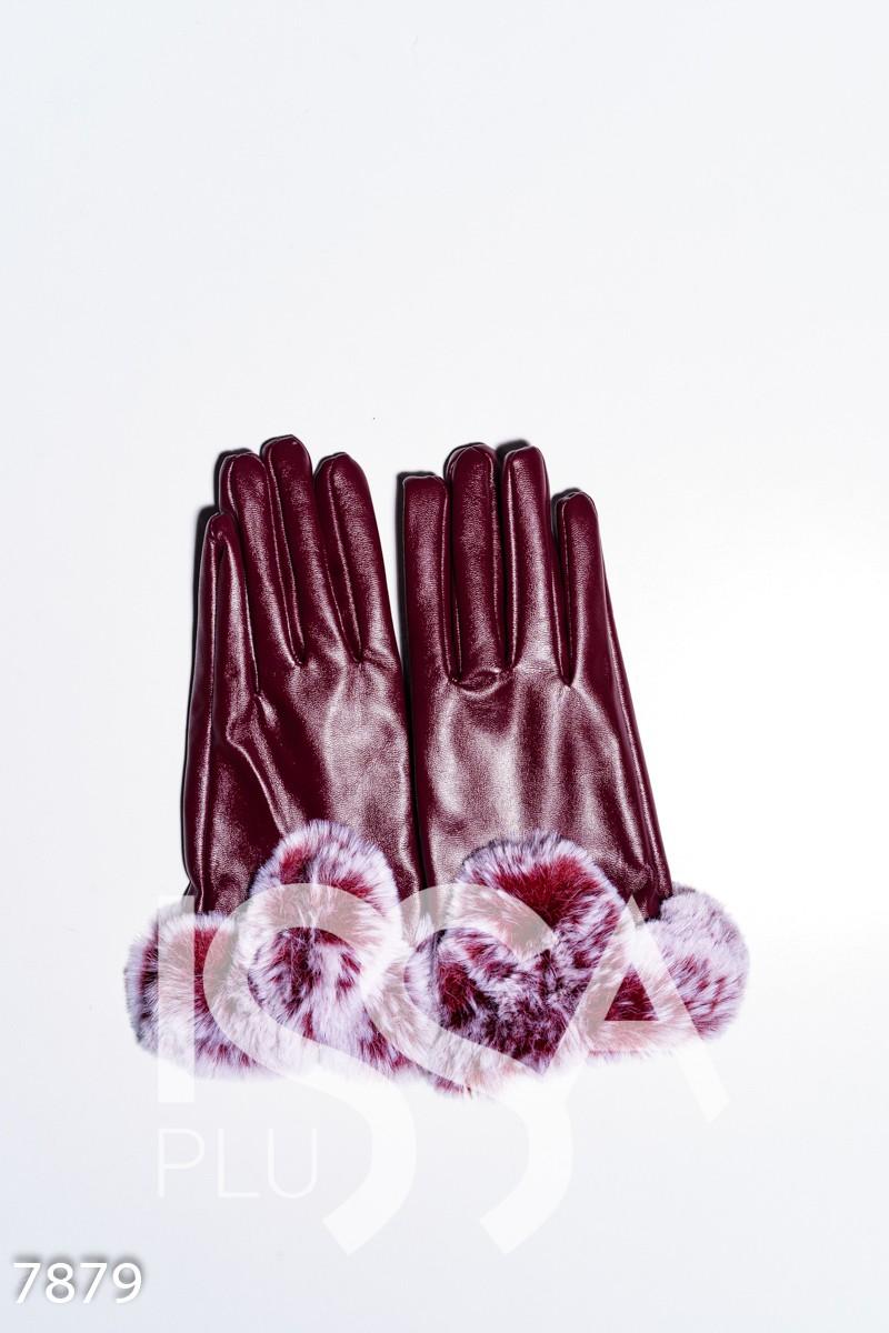 Бордовые перчатки из эко-кожи с меховыми манжетами