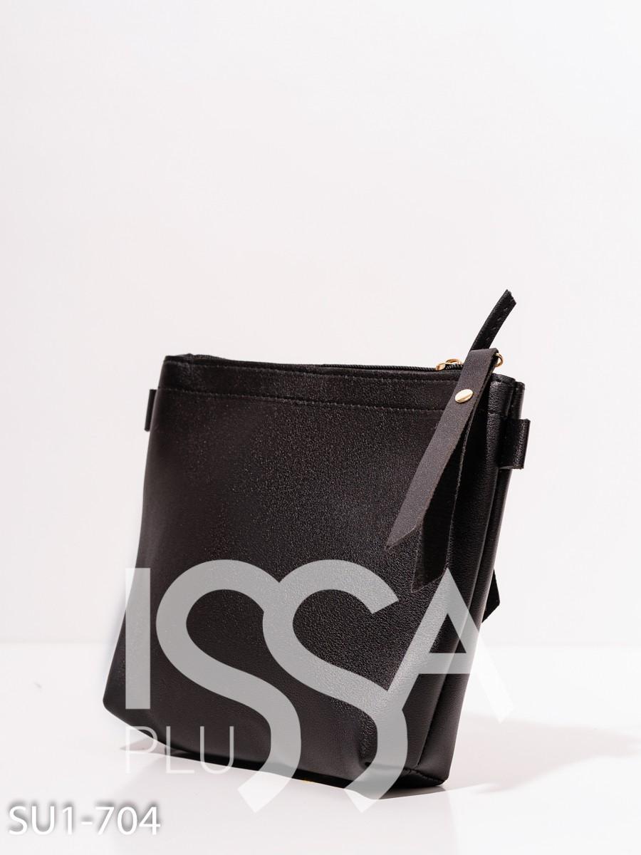 Черная маленькая сумочка из эко-кожи
