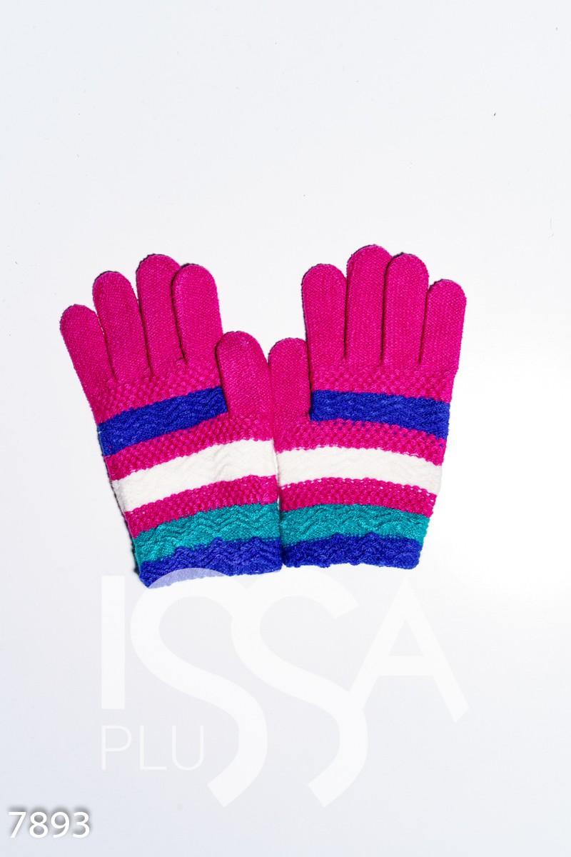 Розовые вязаные шерстяные полосатые перчатки