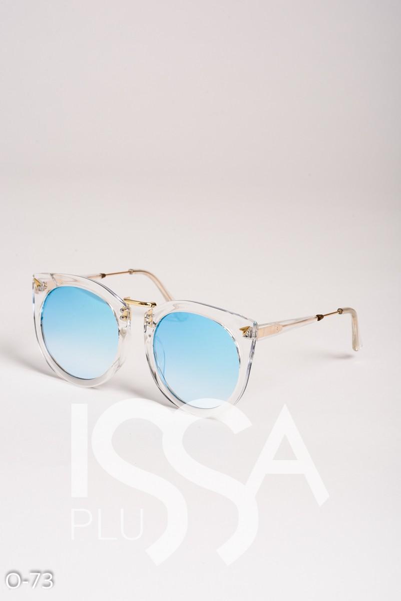 Голубые зеркальные круглые очки в прозрачной пластиковой оправе