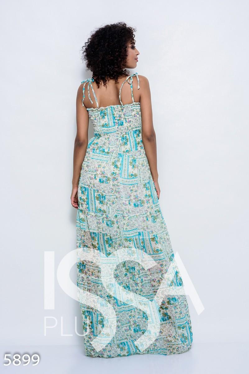 Бирюзовое шифоновое летнее платье-сарафан в пол с жаткой на груди